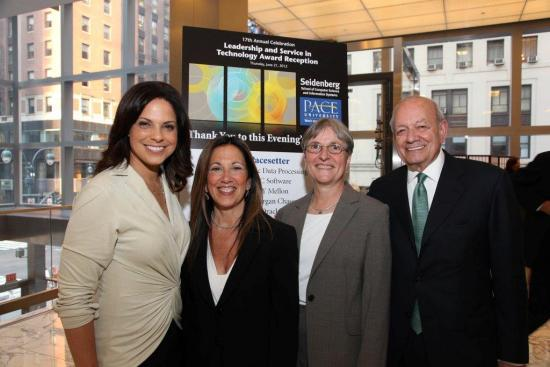 Soledad O'Brien, Anchor, CNN Morning Show, and Special Corresdent for CNN/US and 2012 event keynote speaker poses with event honoree Judith Spitz, Dean Connie Knapp, and Pace President Steve Friedman.